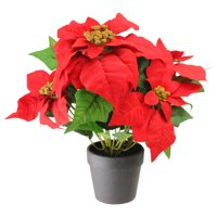 "13.5"" Artificial Poinsettia Flower in Coffee Vase"