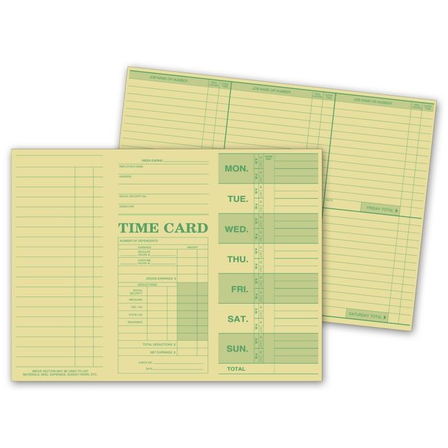 Weekly Time Card, Tag Stock, 250 Cards