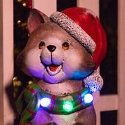 Alpine Cat Wearing Santa Hat & Green Scarf Statue w/ 3 LED Lights and Timer, 21 Inch Tall
