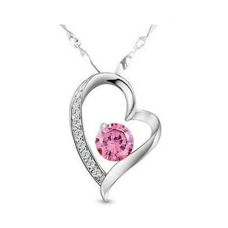 KATGI Austrian Pink Crystals Heart Shape Pendant Necklace Crystal Heart Pin