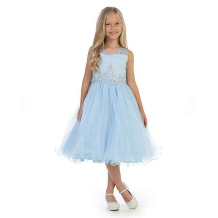 Girls Belle Dress (Angels Garment Girls Blue Bead Applique Junior Bridesmaid/Flower Girl)