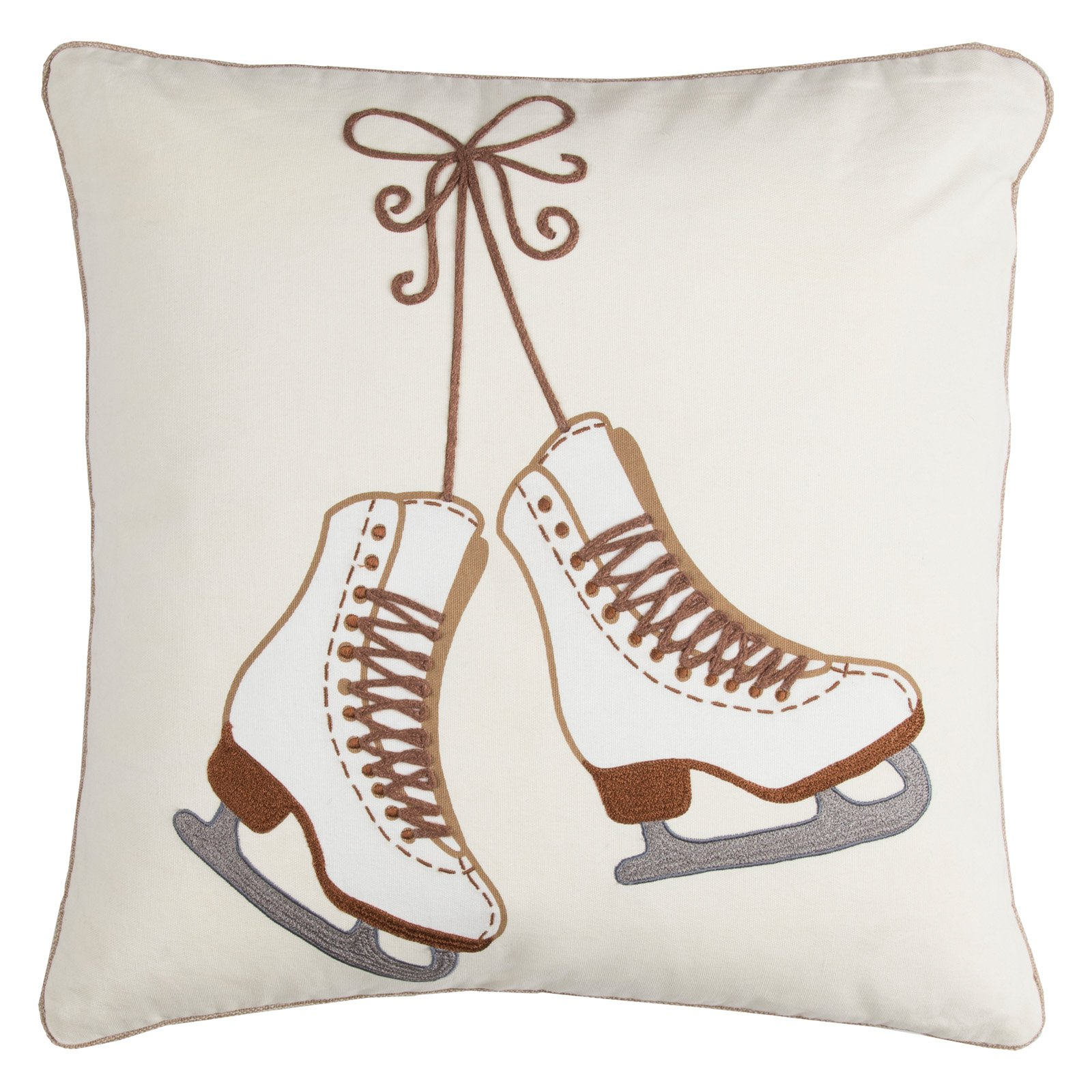 "Rizzy Home Decorative Poly Filled Throw Pillow Holiday Iceskates 20""X20"" Khaki"