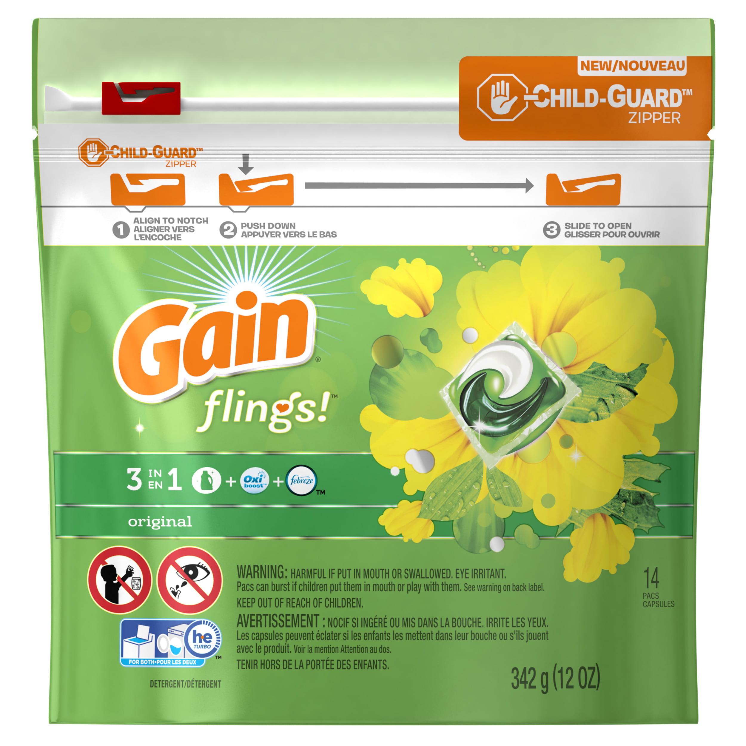 Gain flings! Laundry Detergent Pacs, Original, 14 count