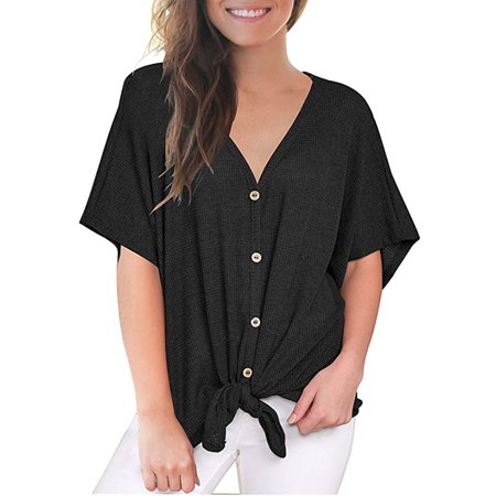 Womens Loose Blouse Short Sleeve V Neck Button Down T Shirts Tie Front Knot Casual