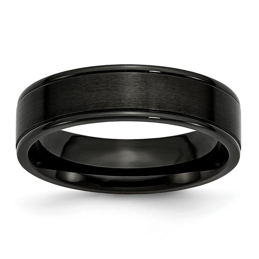 Mens 6mm Black Brushed and Polished Grooved Stainless Steel Wedding Band Ring Size 9