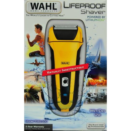 Wahl Lifeproof Lithium Ion Mens Rechargeable Shaver With Rubber Grips and Quick Charge - 7061-100