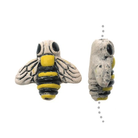 Hand Painted Ceramic Beads - Small Yellow and Black Bumble Bee 14.5x16mm - Pack of 2