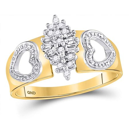 Gold Double Heart Ring (10kt Yellow Gold Womens Round Diamond Double Heart Cluster Ring 1/8)