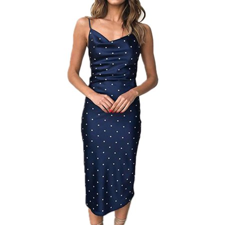 Women's Satin Silk Strappy Midi Summer Dress Laides Cocktail Evening Party Dress