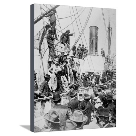 Hopeful Prospectors Leave Vancouver During the Klondike Gold Rush Stretched Canvas Print Wall