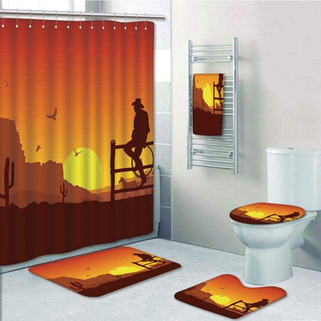 EREHome Western Silhouette of Cowboy in Wild West Sunset Landscape American Culture Artsy Burnt 5 Piece Bathroom Set Shower Curtain Bath Towel Bath Rug Contour Mat and Toilet Lid Cover - image 1 de 2