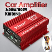 Kinter MA-150 500W 12V 2CH Mini HiFi Stereo Audio Power Amplifier Car MP3 Speaker For  Home Motorcycle Boat Computer Speaker