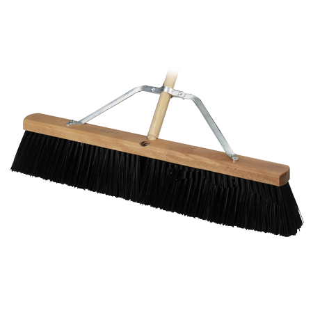 Concrete Broom - Bon 12-300 Heavy Duty Concrete Street Broom - 24 inch with 5 foot Wooden Handle