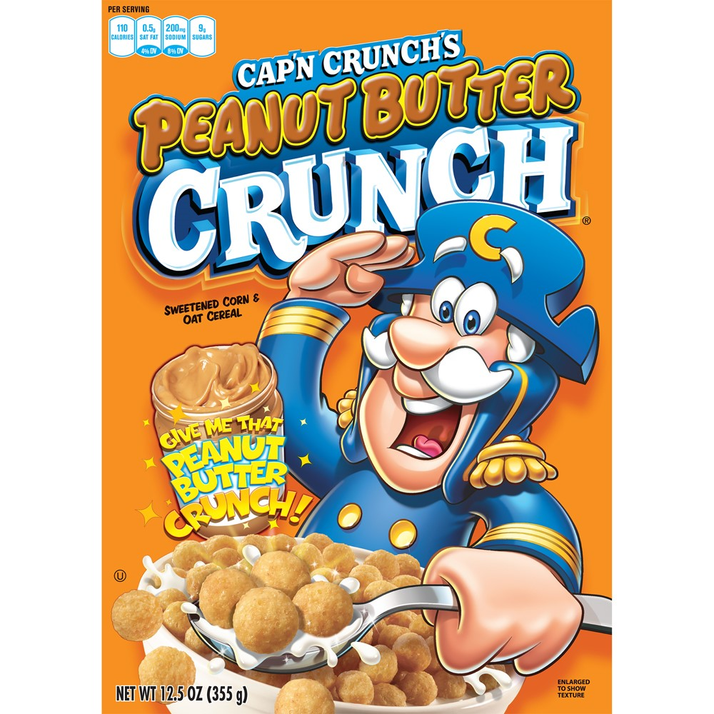 Cap'n Crunch Breakfast Cereal, Peanut Butter Crunch, 12.5 oz Box