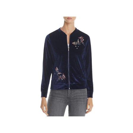 Design History Womens Embroidered Bomber Velvet Jacket