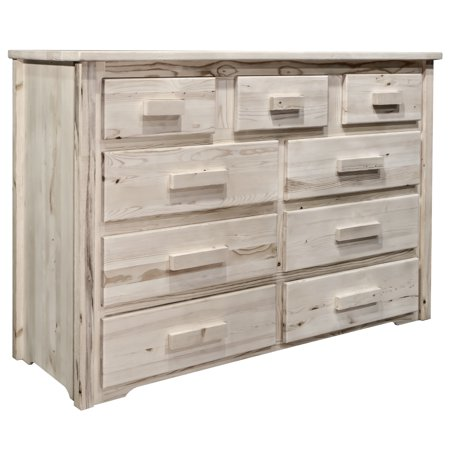 Montana Collection 9 Drawer Dresser, Clear Lacquer Finish Espresso Lacquer Finish