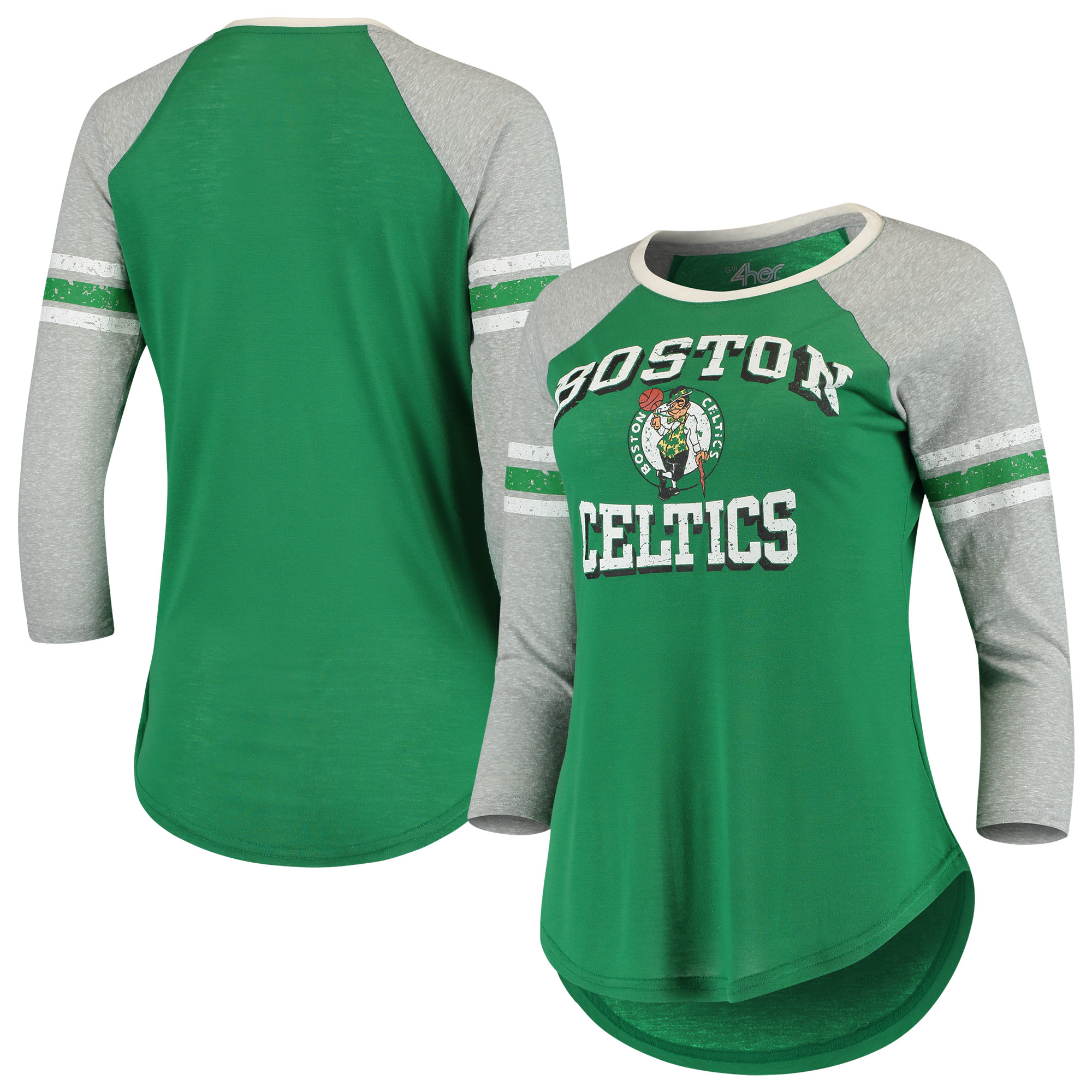 NBA Boston Celtics Women/'s Premium Triblend 3//4 Sleeve Shirt Raglan Green New