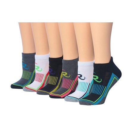 Ronnox Women's 6-Pairs Low Cut Running & Athletic Performance Tab Socks (X-Small/Small (womens shoe: 5 6 7), Arch Stripe #2)