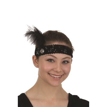 Black Sequin Flapper Roaring 20s Feather Headband Jewel Gem Costume Accessory (20s Feather Headband)