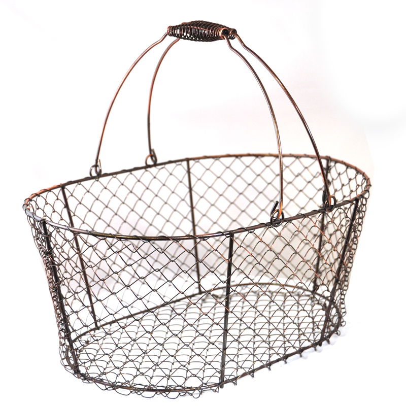 Stella Oblong Wire Basket with Swing Handle - Copper 12in
