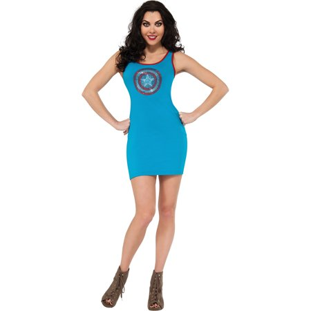 Captain American Rhinestone Tank Dress Adult Halloween Costume](Dress Up Captain America)