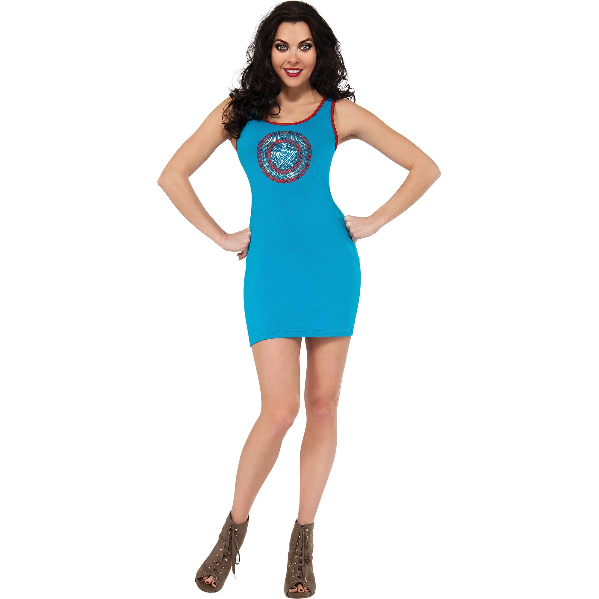 Captain American Rhinestone Tank Dress Adult Halloween Costume