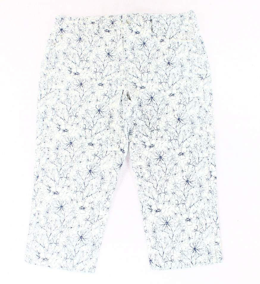 NYDJ NEW White Blue Women's Size 14W Plus Floral Print Ankle Cropped Pants