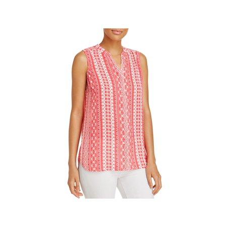 Foxcroft Womens Printed Sleeveless Tunic Top