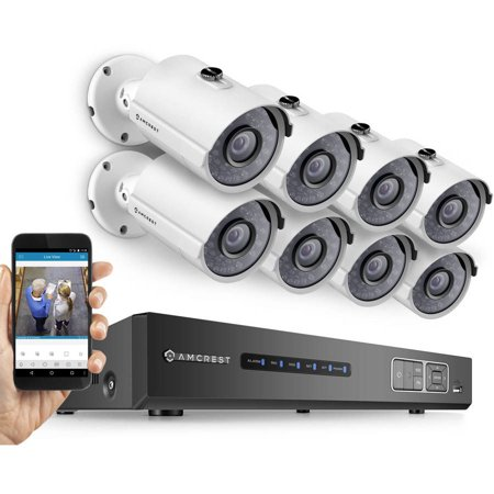 Amcrest Full HD 1080p 8-Channel Video Security System with Eight 1920TVL 2.1MP Weatherproof IP66 Bullet Cameras, 65' IR LED Night Vision, 3TB HDD, HD Over Analog/BNC and Smartphone View