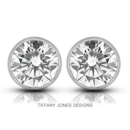 0.64ct tw I-SI1 Ex Round Cert. Diamonds 14k Bezel Set Modern Style Earrings