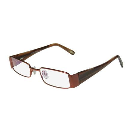 New Continental Budget Casual Sleek Eyewear X-Eyes 067 Womens/Ladies Designer Full-Rim Copper / Brown Horn Frame Demo Lenses 48-19-135 Flexible Hinges Eyeglasses/Glasses