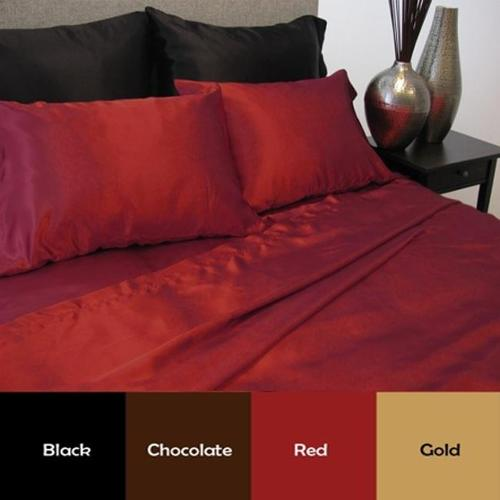 Luxury Solid Color Satin Sheet Set Queen- Red