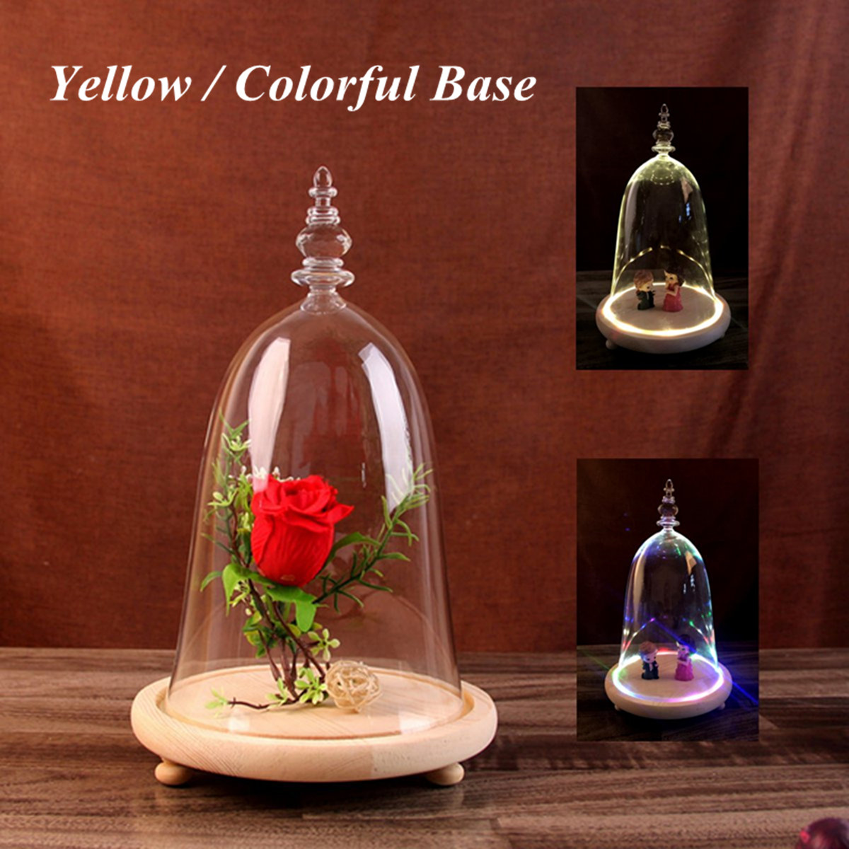 Moaere Decorative Clear Glass Apothecary Cloche Bell Jars Centerpiece Dome Display with Bamboo Base Black Friday Big Deals