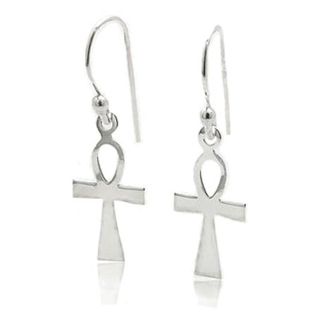 - Egyptian Cross Ankh of Life Sterling Silver Hook Earrings