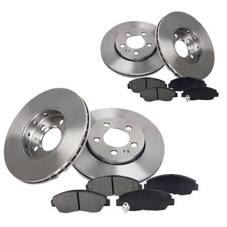 Light Disc Rotor - Front & Rear Brake Disc Rotor & Pads fit 1992 1993 1994 1995 1996 1997 1998 1999 Toyota Camry