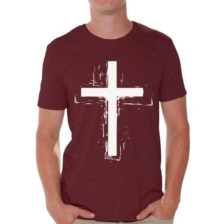 Awkward Styles Cross T Shirt for Men Christian Mens Shirts Christian Cross Clothes for Men Jesus Christ is the Lord Christian Cross Birthday Gifts Jesus Shirts Jesus Clothing Cross Mens Shirt