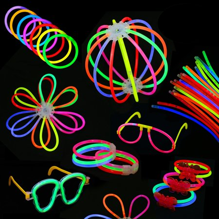 Pack of 567 Glowing Sticks, 250 Glow Sticks + 250 Connectors + 67 Connectors for Flower Balls and more - Party Favors for Kids/Adults Ball Party Kit