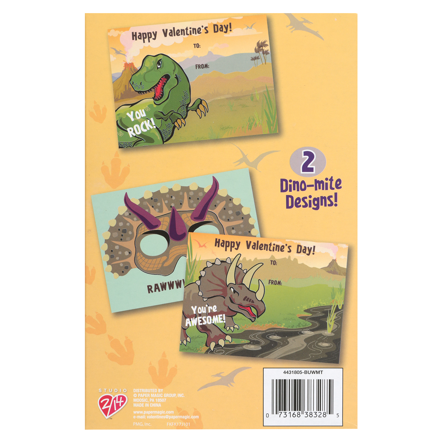 16ct Dino Valentine Cards With Masks Walmart
