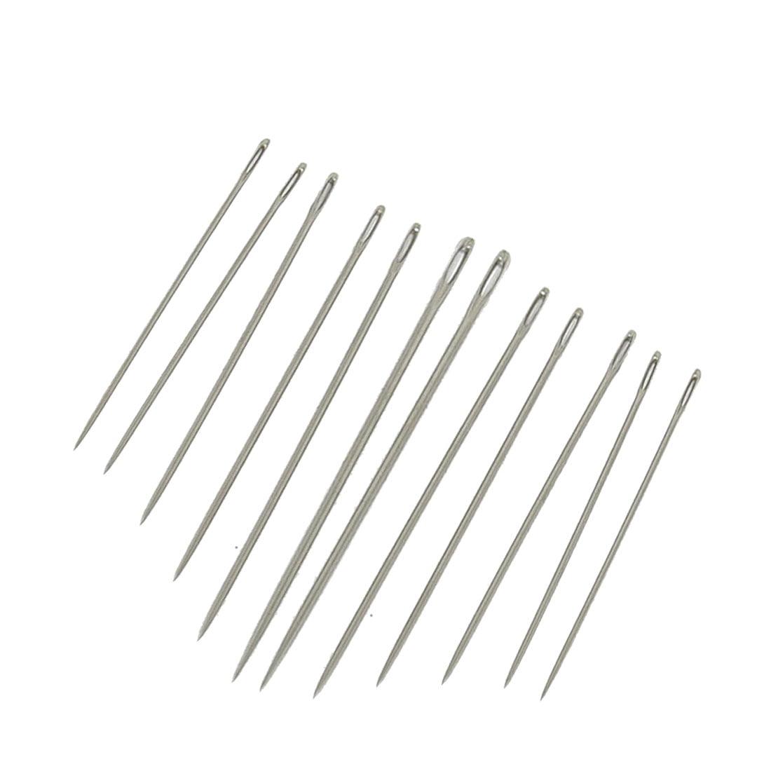 Unique Bargains Handy Tool Metal Sharp Tip Threading Sewing Needles 12 Pcs