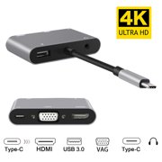 GoldCherry 5-in-1 Type C to HDMI & VGA & USB C Adapter - Dual Monitor Mini Converter Cable
