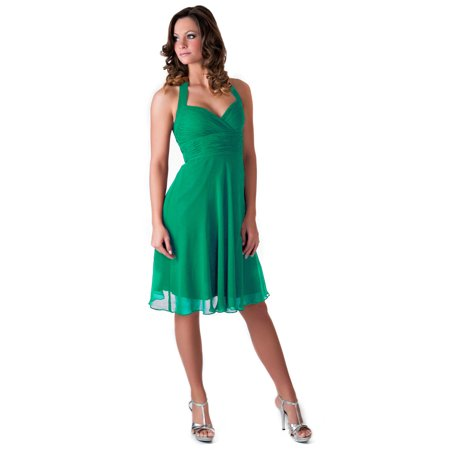 Faship Womens Elegant Halter Pleated Formal Dress Emerald -