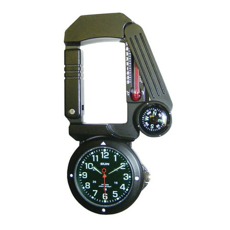 - Traverse Tool - Six-Function Foldaway Multitool   Carabiner, Watch, Compass, Thermometer, LED Light, Signal Mirror