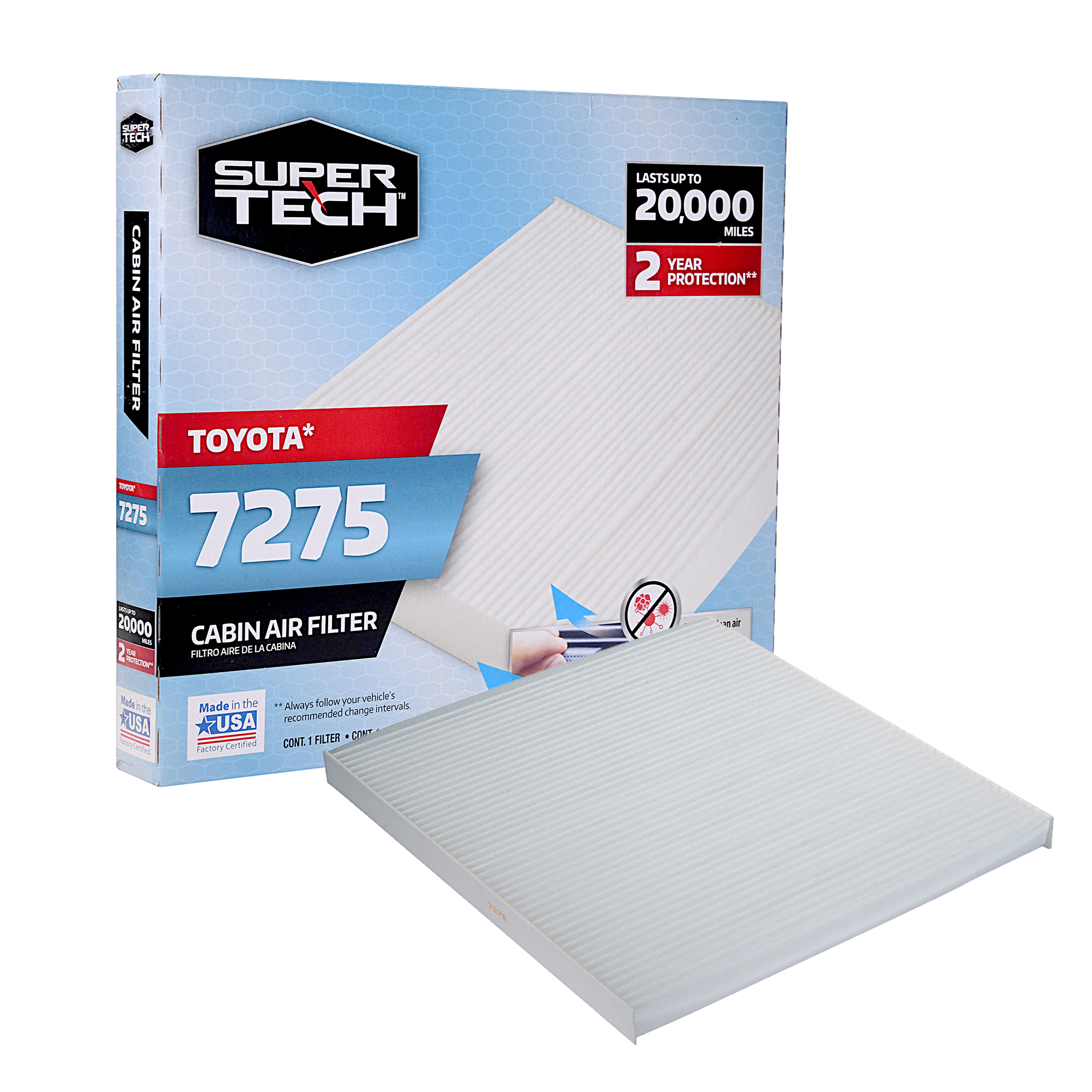 SuperTech Cabin Air Filter 7275, Replacement Air/Dust Filter for Toyota