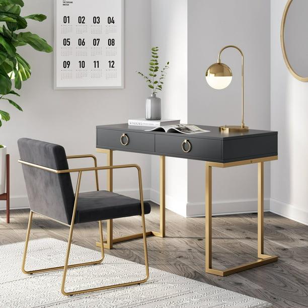 Nathan James Leighton Two-Drawer Modern Desk Black and Gold Finish