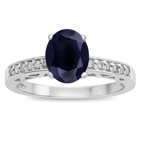Star K Oval 8x6 Genuine Black Sapphire Channel Set Engagement Promise Ring ()