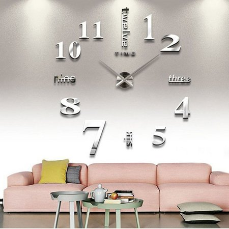 Moksha DIY Frameless Large Wall Clock 3D Sticker Modern Mute Mirror Surface Home Office Decoration Gift, Silver Gift Set Clock