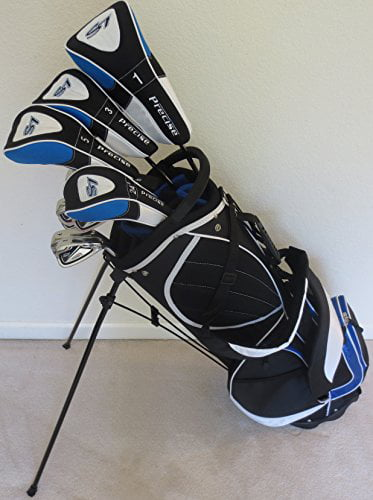 Mens Golf Set Clubs and Bag Complete Driver, 3 & 5 Fairway Woods, Hybrid, Irons, Putter Sand Wedge & Deluxe... by Par Premium Golf