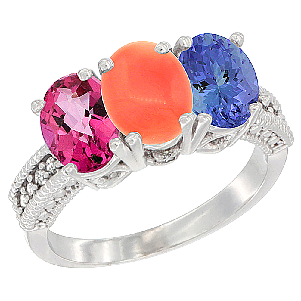 14K White Gold Natural Pink Topaz, Coral & Tanzanite Ring 3-Stone 7x5 mm Oval Diamond Accent, sizes 5 10 by WorldJewels