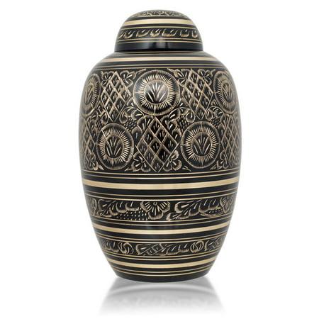 (Bronze Cremation Urn - Large 200 Pounds - Etched Black Radiance - Engraving Sold Separately)