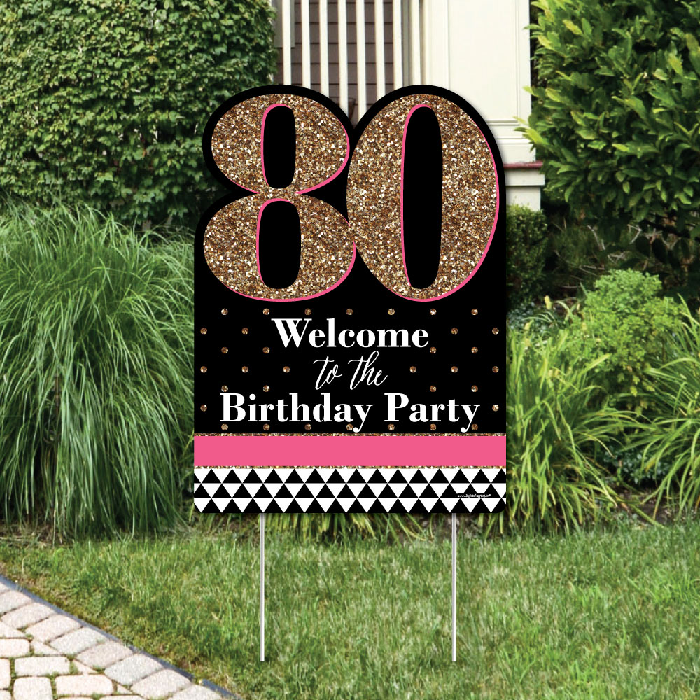Chic 80th Birthday - Pink, Black and Gold - Party Decorations - Birthday Party Welcome Yard Sign